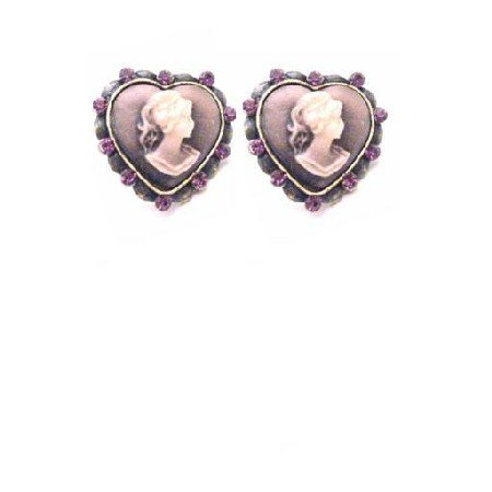 ERC670  Choose Quality Cameo Jewelry Heart Shaped Cameo Earrings W/ Amethyst Crystals