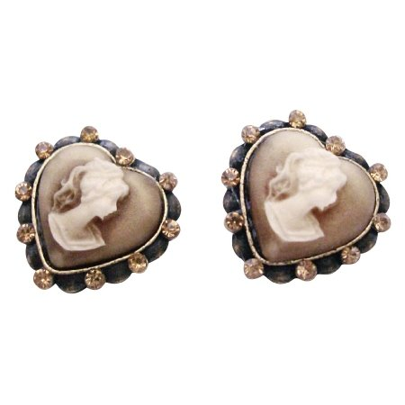ERC660  Looking For Fine Cameo Earrings For Your Mother Sparkling Crystals Cameo Earrings