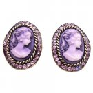ERC669  Amethyst Crystals Cameo Antique Purple Framed W/ Cameo Potrait Earrings