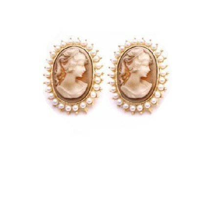 ERC672  Gold Framed Cameo Potrait Earrings Surrounded With White Pearls