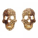 HH264  Skull Head Earrings w/ Golden Shadow & Smoked Topaz Crystals Earrings