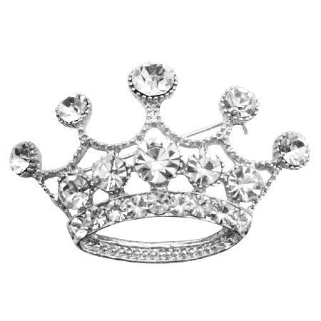 HH266  Glamorous Crown Brooch Fully Diamante Crown Brooch