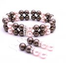 TB034  Brown Swarovski Pearls Wedding Bridal Bridemaids Bracelet & Earrings