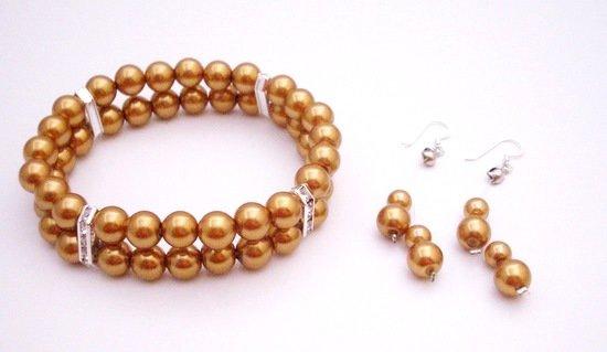 TB035  Double Stranded Bracelet Bridemaids Gold Dress Match Fashion Jewelry