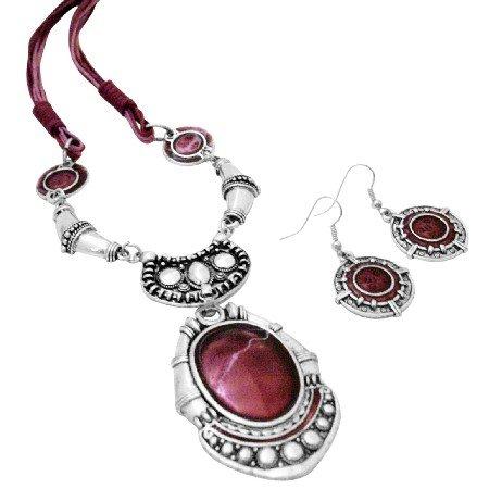 NS994  Enamel Ruby Painted Ethnic Artform Pendant & Earrings Set