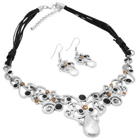 NS002  Jewelry Artistically Designed Silver Metal Work Jet & Colorado Rhinestones