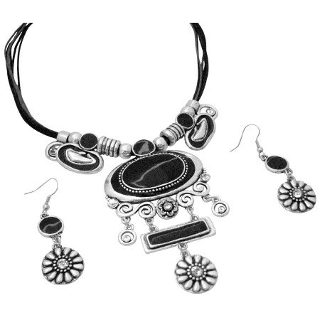 NS999  Tribal Jewelry Silver Stylish Black Enamel With Flower Silver Dangling