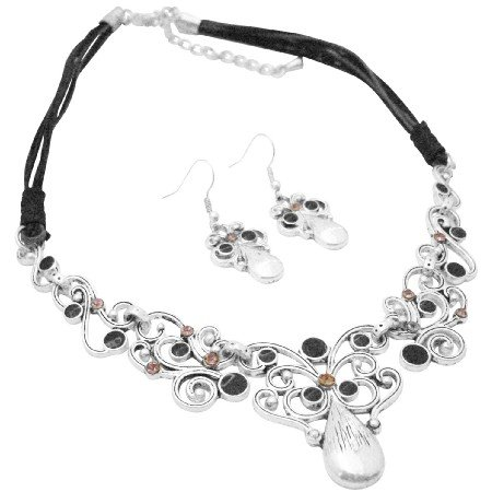 NS001  Artform Vintage Silver Artistically Designed Jewelry Choker Style Necklace Earrings