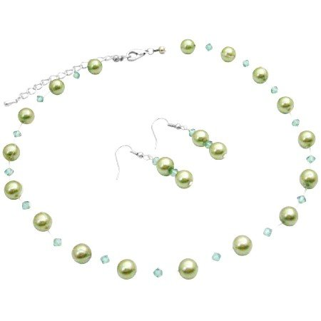 NS005 Bridal Beautiful Affordable Jewelry Green Pearls With Swarovski Erinite Crystals