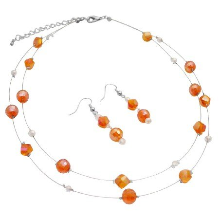 NS980  Double Stranded Glass Beads Chinese Crystals Fall Color Orange Necklace & Earrings Set