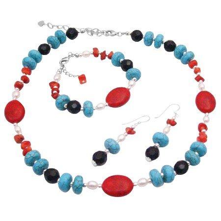 NS351  Multi Colored Semi Precious Stone Beads w/ Pearls & Bali Silver Set