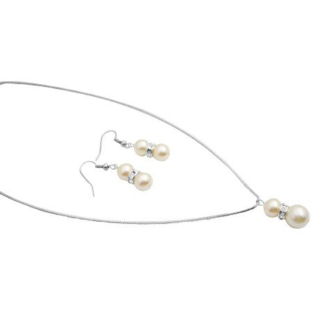 NS006  Jewelry For Prom And Pageant Delicate Cream Pearls With Diamante