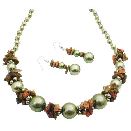 NS990  Magnificent Necklace Olive Pearls Olive Nugget Necklace Set