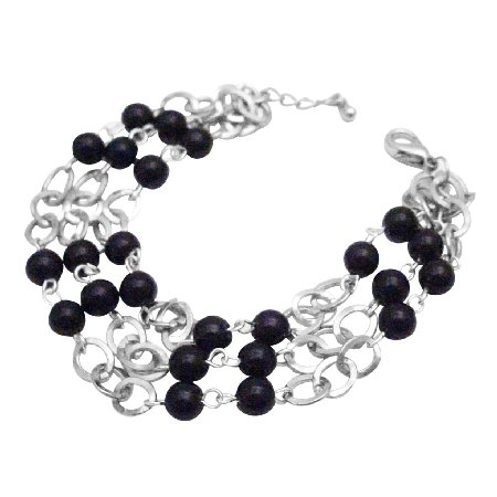 TB694  Black Pearls Cubic Zircon Stud Bracelet Three Stranded Bracelet Fashionable Bracelet