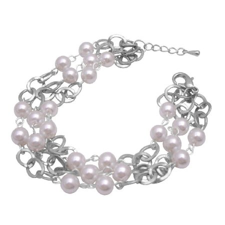 TB700  Soothing White Pearls Striking w/ Cubic Zircon Gorgeous Sleek Bracelet