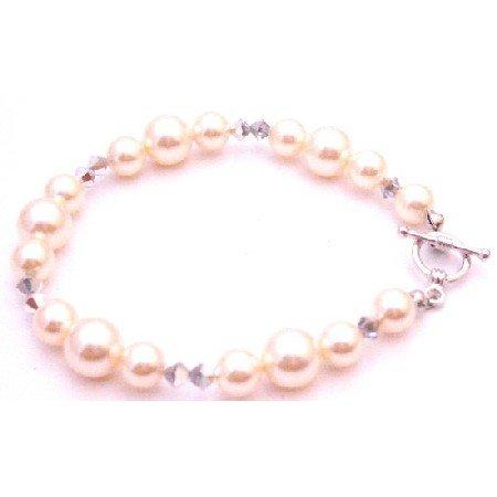 TB081  Best Gift For Bridemaids Ivory Pearl Comet Crystals Swarovski Bracelet
