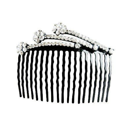 HA171  Comb Hair Pin White Crystals Decorated Hair Comb Perfect For Bridal Bridemaides