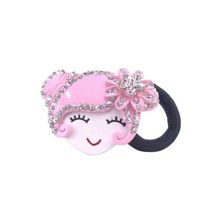 HA465  Hand Painted Hair Rubber Band Prom Hair Band Pink Metal Doll Fully Decorated