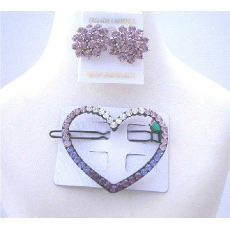HA189  Heart Hair Barrette Ametheyst Crystals Barrette w/ Crystals Earrings