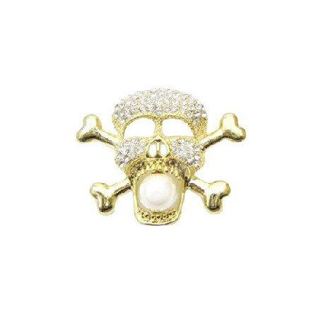 HH207 Gold Skull Head Brooch Pendant Fully Embedded Cubic Zircon Skull Pendant/Brooch