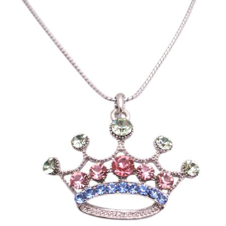 HH120  GLAM Multi Colored Cubic Crown Pendant Necklace w/ 24 Inches Long Necklace