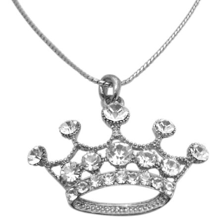 HH210 Sliver Crown Fully Embedded w/cubic Zircon Pendant Necklace 26 Inches Long Necklace