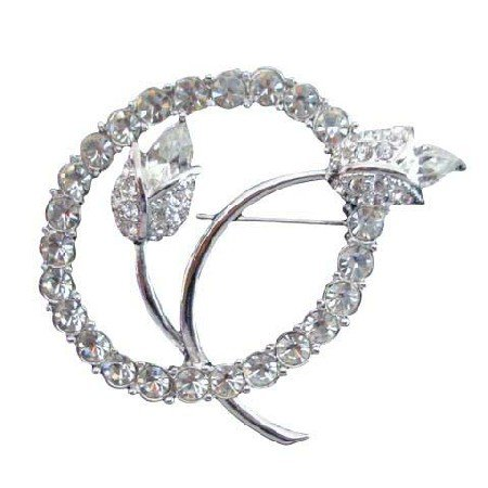 B020  Vintage Tulip w/ Simulated Diamond In Circle Pin Brooch Beautiful