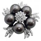B566  Match Your Brooch With Dark Grey Dress Pearls Brooch