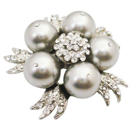 B568  Wedding Cake Brooch Lite Grey Pearls Match Dress Brooch
