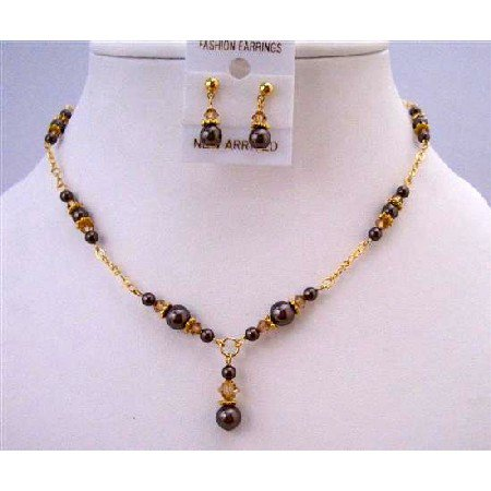 BRD963  Gold 22k Plated Swarovski Brown Pearls Colorado Crystals Necklace Set
