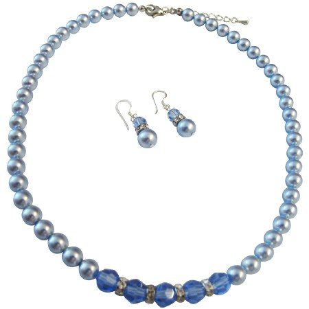 BRD069  Sapphire Crystals Blue Pearls Necklace Set Beautiful Gorgeous Jewelry