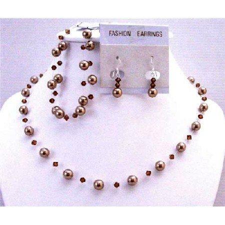 BRD905 Bronze Pearls w/Smoked Topaz Swarovski Crystals Complete Set Necklace Earrings Bracelet