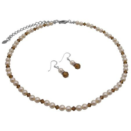 BRD795  Genuine Swarovski Ivory Pearls & Smoked Topaz Crystals Wedding Jewelry Set