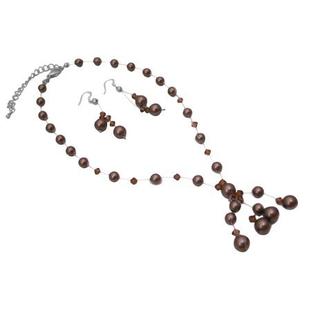BRD630  Bridemaides Brown Pearls Smoked Crystals Custom Bridal Jewelry Set w/ Drop Tassel