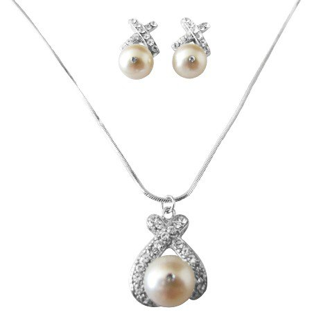 BRD972 Genuine Swarovski Ivory Pearls 10mm Pendant Earrings Jewelry Set