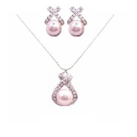 BRD821  Rose Pink Pearls Swarovski Pearls Jewelry Set Pendant and Earrings Set