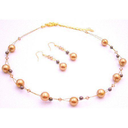 BRD086  New Year Eve Party Necklace Gold Brown Pearls Lite Colorado Crystals
