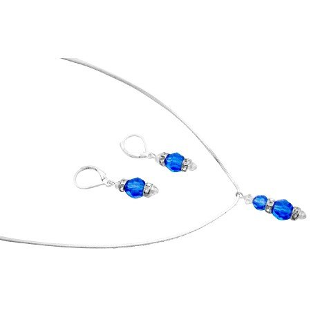 BRD165  Pageant Jewelry Sapphire Clear Crystals Drop Down Pendant Earrings Set