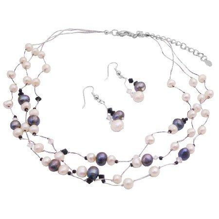 BRD167  Inexpensive Bridemaids Gift Stunning Jewelry Set Black Ivory Combo