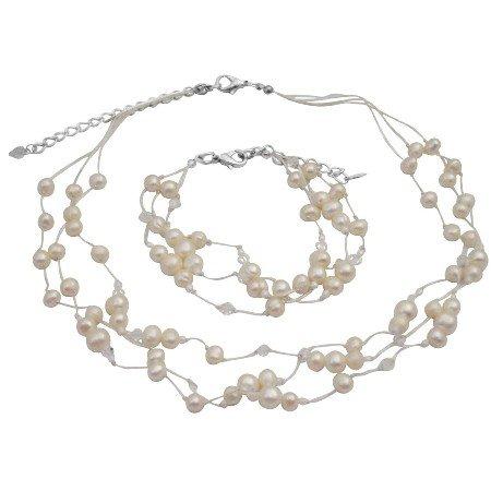 BRD168  Necklace Bracelet Ivory Freshwater Pearls w/ Swarovski Clear Crystals