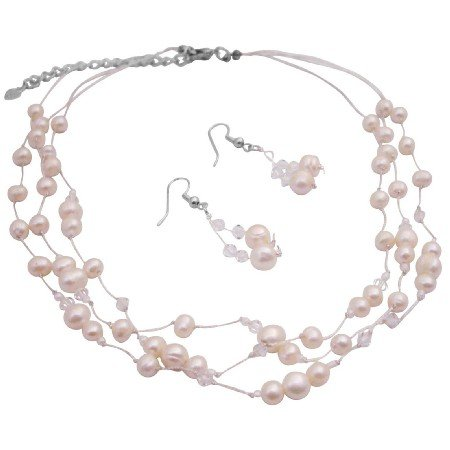 BRD169  Freshwater Pearls And Clear Crystals Jewelry Set Fine Career Jewelry