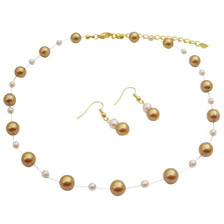 BRD189  Handmade Jewelry Harvest Gold Pearls Ivory Pearls Gold Chain Jewelry