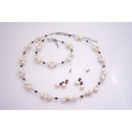 BRD190  Freshwater Pearls Creation Burgundy Crystals Complete Wedding Jewelry