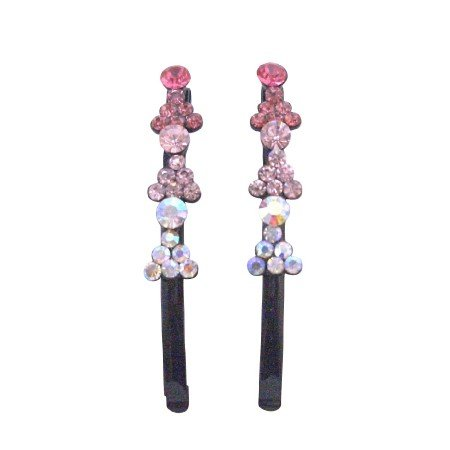 HA478  Fancy Hair Pin w/ Fuschia Rose Clear Crystals Black Pin Fantasy Hair Jewelry Pair