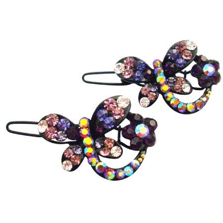 HA615  Classic Elegant Style In Butterfly Shaped With Amethyst Crystals