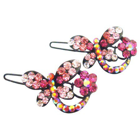 HA616  Stylish Cute Butterfly Hair Clip In Fuschia Rose And Clear Crystals