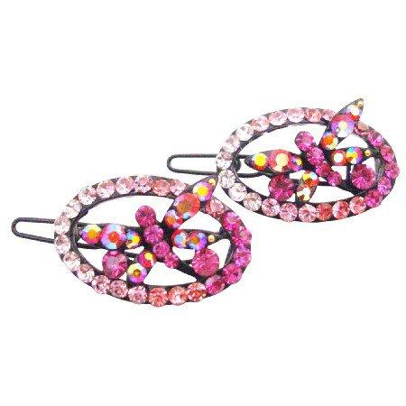 HA619  Fancy Pink Butterfly Girls Fancy Hair Barrette Oval Shaped