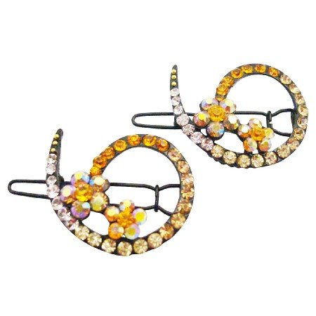 HA621  Wedding Hair Barrette Match With Gold Yellow Dress Inexpensive Clip