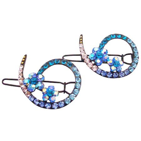 HA622  Bridemaids Blue Hair Accessories Inexpensive Affordable Crystals Clip