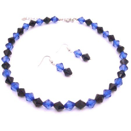 NS983  Dark Blue & Black Crystals Combo Jewelry Set Custom In Your Color